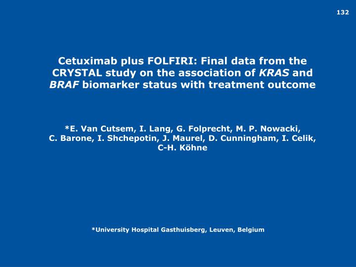 Cetuximab plus FOLFIRI: Final data from the CRYSTAL study on the association of