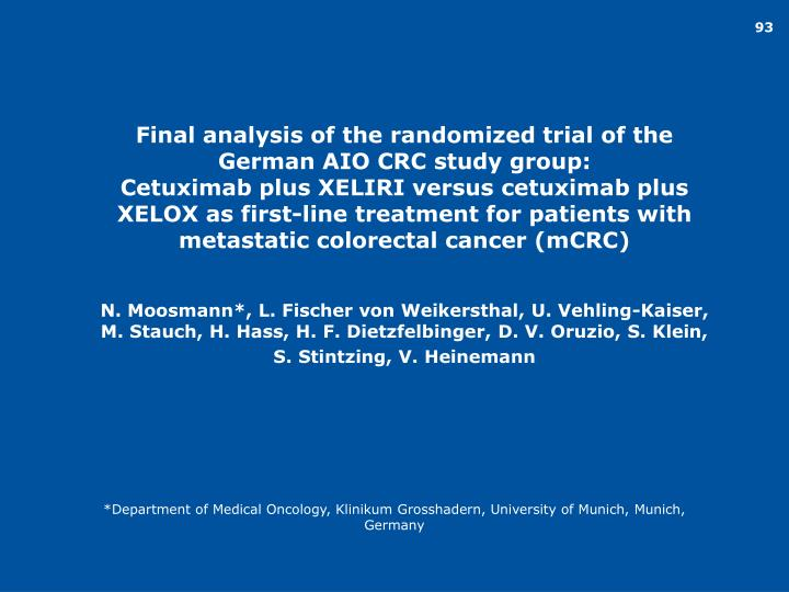 Final analysis of the randomized trial of the German AIO CRC study group: