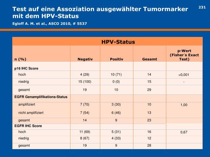 Test auf eine Assoziation ausgewählter Tumormarker