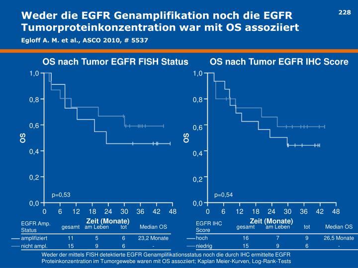Weder die EGFR Genamplifikation noch die EGFR Tumorproteinkonzentration war mit OS assoziiert