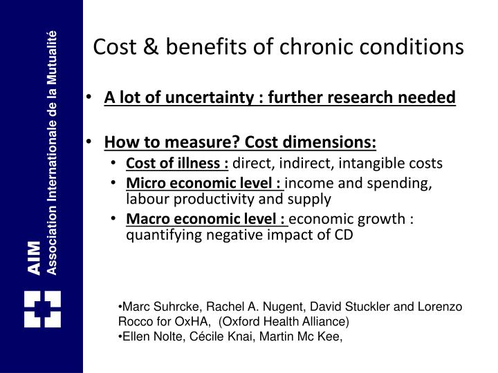 Cost & benefits of chronic conditions