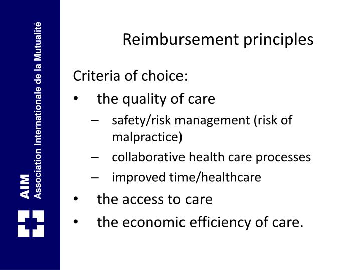 Reimbursement principles