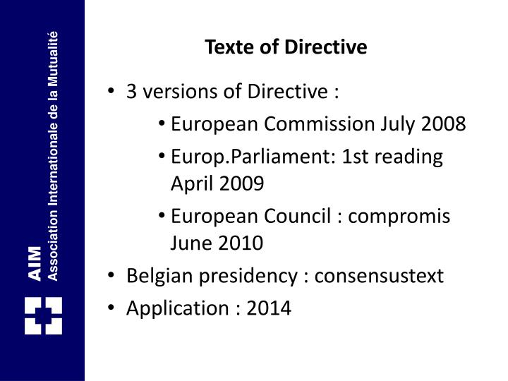 Texte of Directive