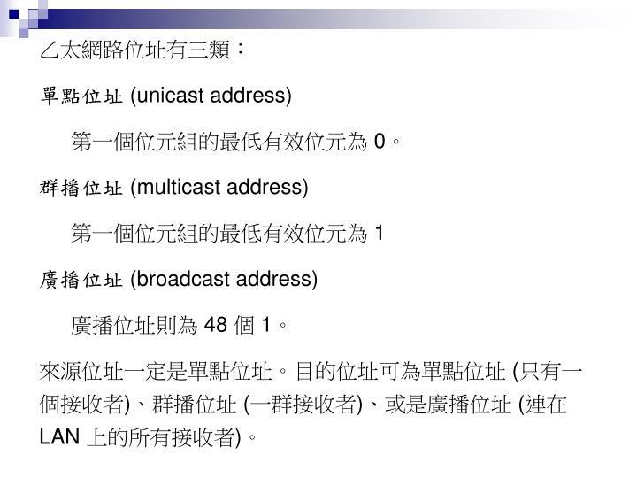 乙太網路位址有三類:
