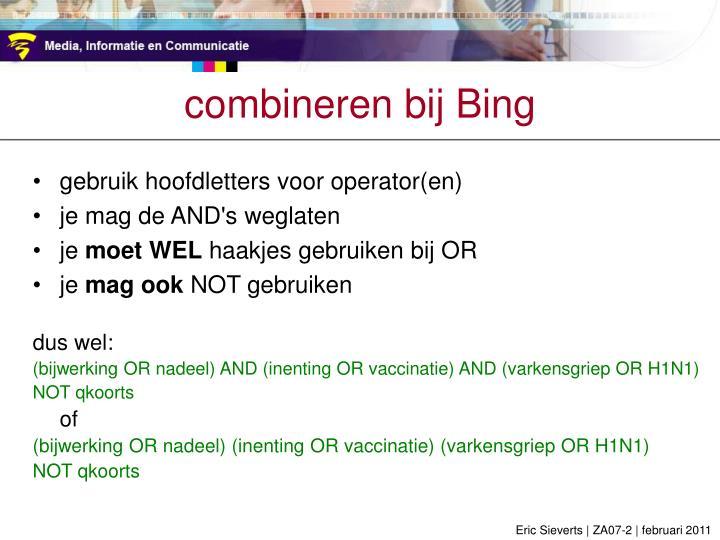 combineren bij Bing