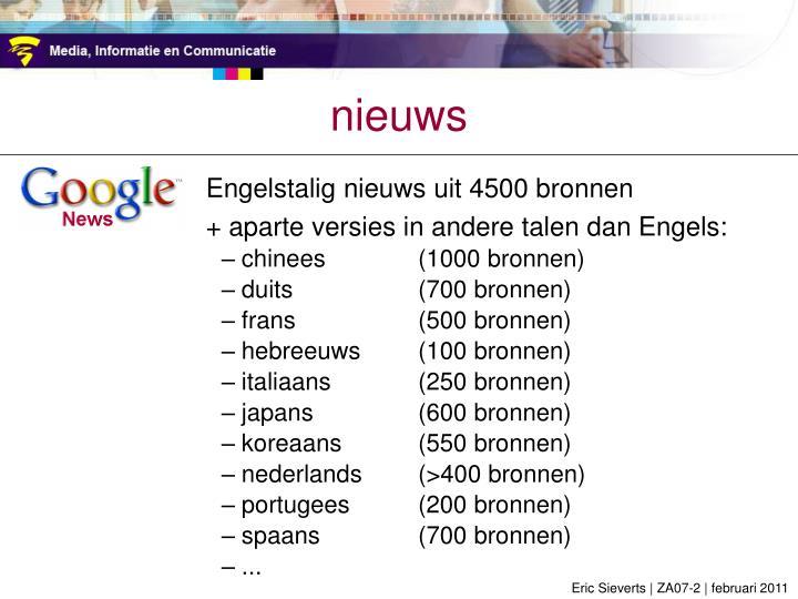 Engelstalig nieuws uit 4500 bronnen