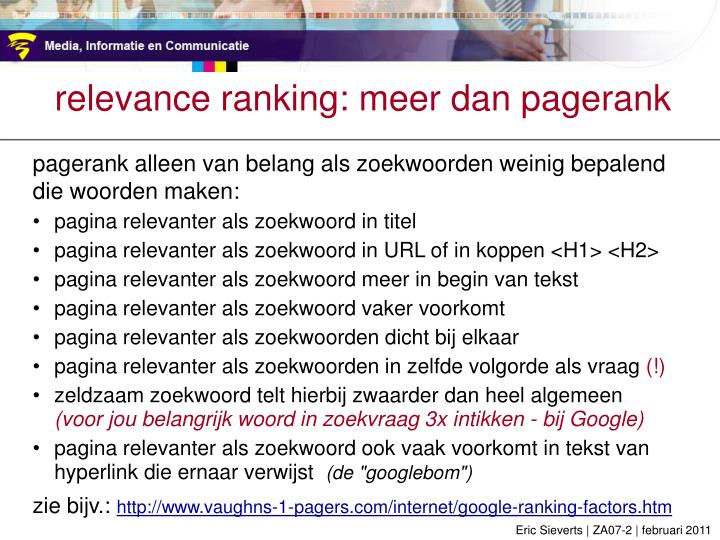 relevance ranking: meer dan pagerank