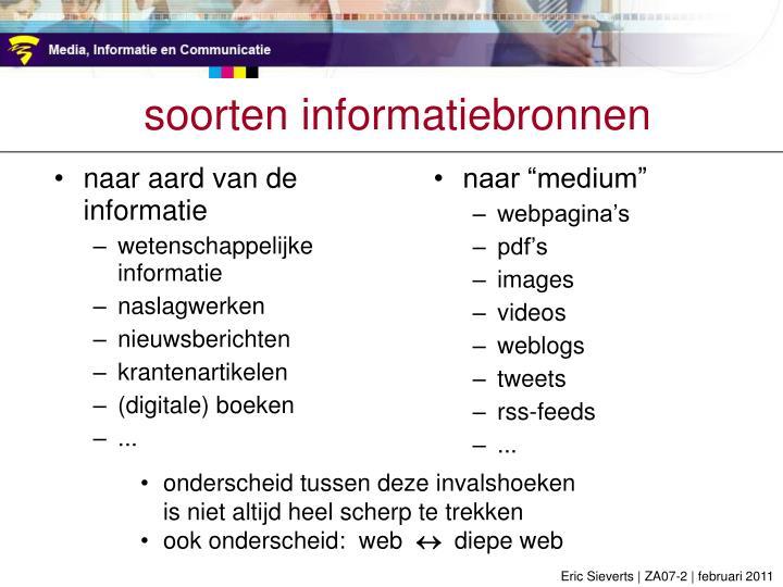 soorten informatiebronnen