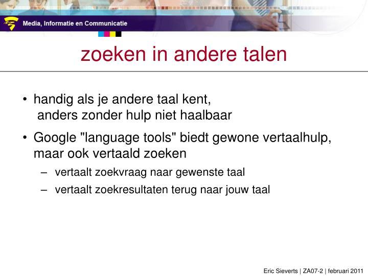 zoeken in andere talen