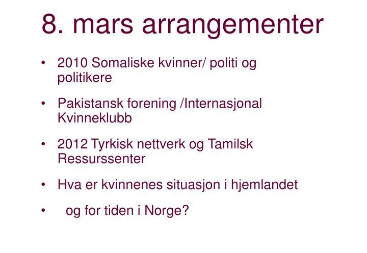 8. mars arrangementer