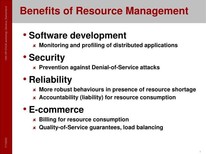 Benefits of Resource Management