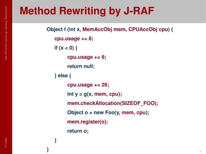 Method Rewriting by J-RAF