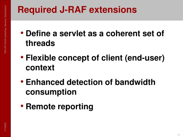 Required J-RAF extensions