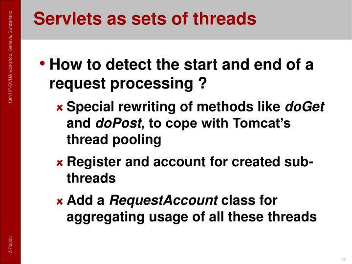 Servlets as sets of threads