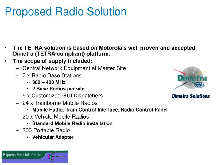 Proposed Radio Solution