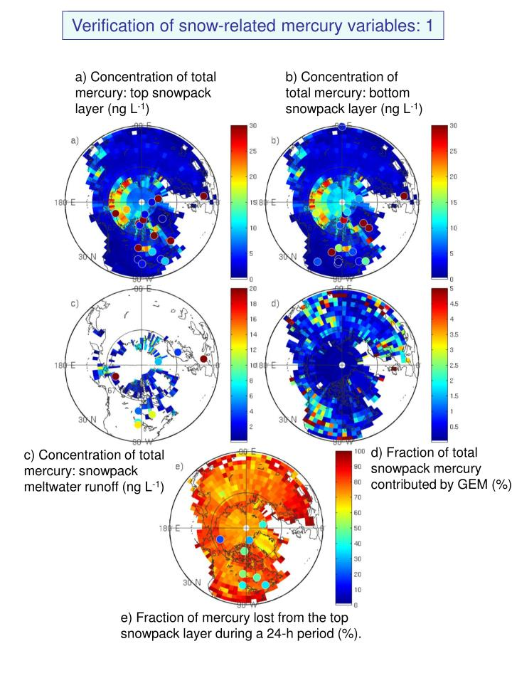Verification of snow-related mercury variables: 1