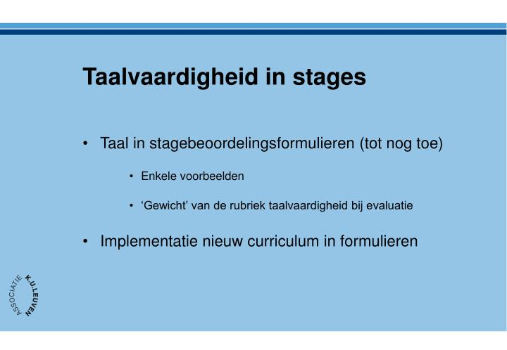 Taalvaardigheid in stages