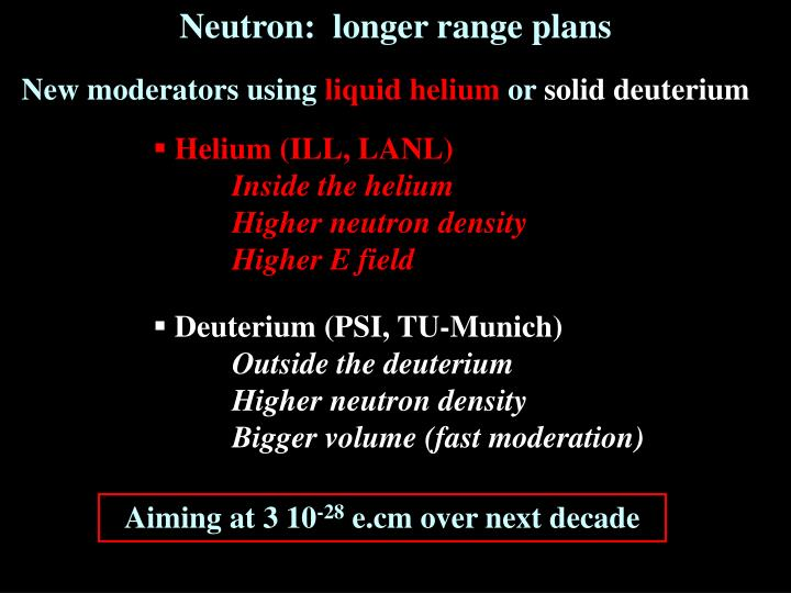Neutron:  longer range plans