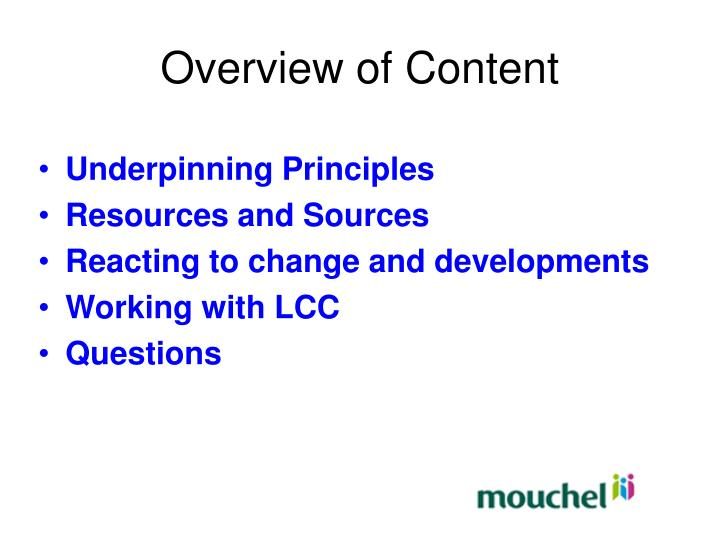 Overview of Content