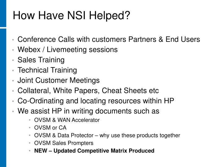 How Have NSI Helped?
