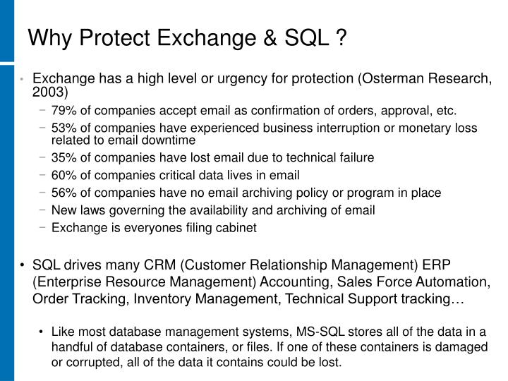 Why Protect Exchange & SQL ?