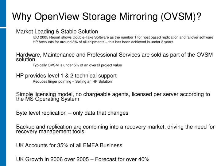 Why OpenView Storage Mirroring (OVSM)?