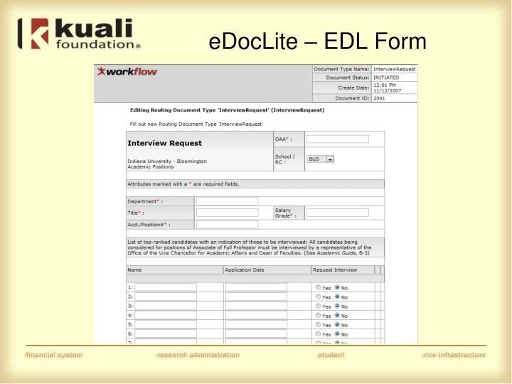 eDocLite – EDL Form
