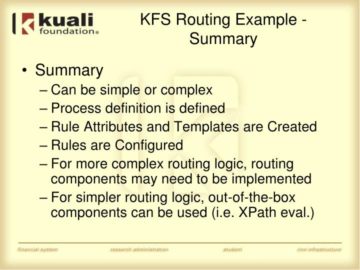 KFS Routing Example - Summary