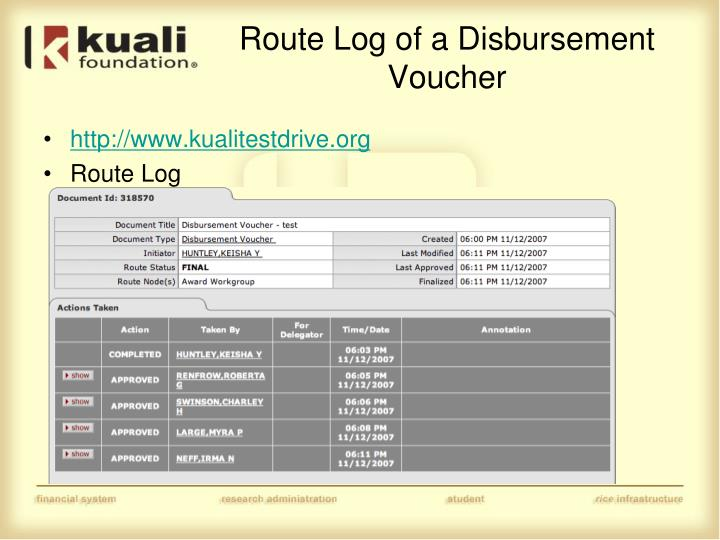 Route Log of a Disbursement Voucher