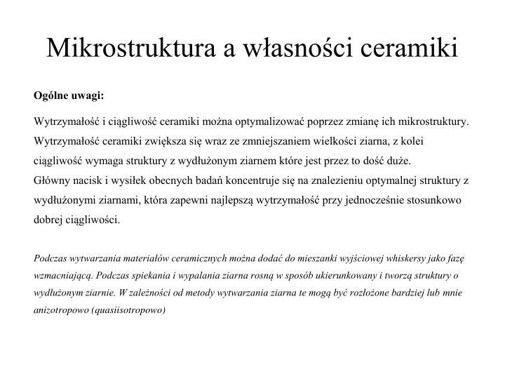 Mikrostruktura a własności ceramiki