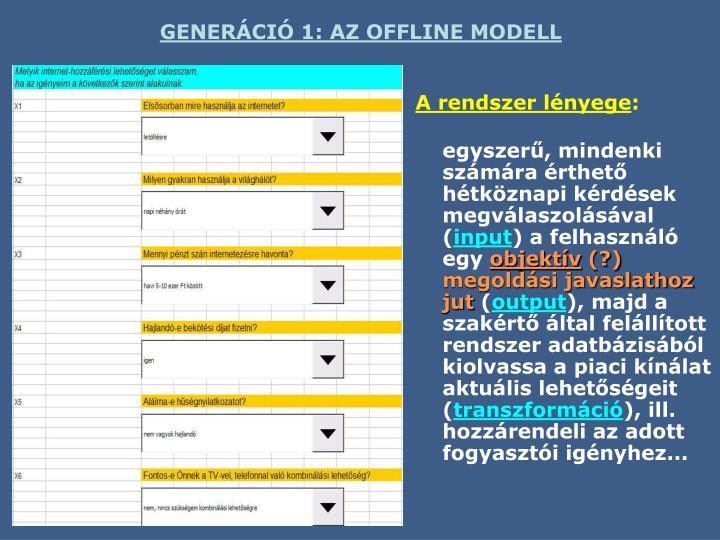 GENERÁCIÓ 1: AZ OFFLINE MODELL