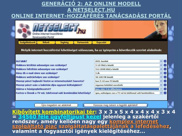 GENERÁCIÓ 2: AZ ONLINE MODELL
