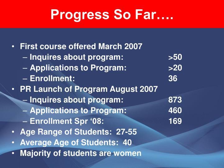 Progress So Far….
