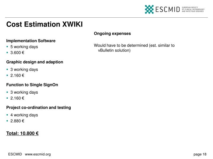 Cost Estimation XWIKI