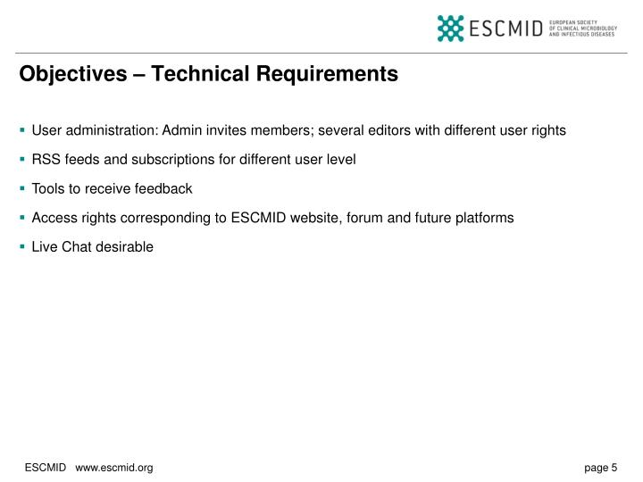 Objectives – Technical Requirements