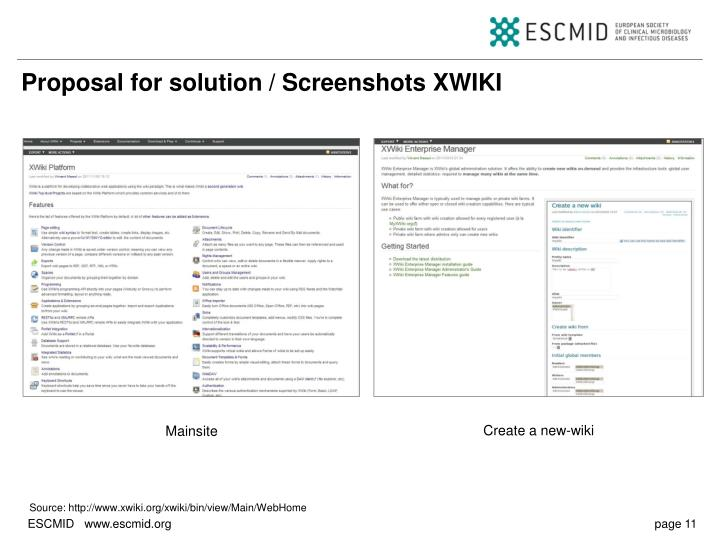 Proposal for solution / Screenshots XWIKI