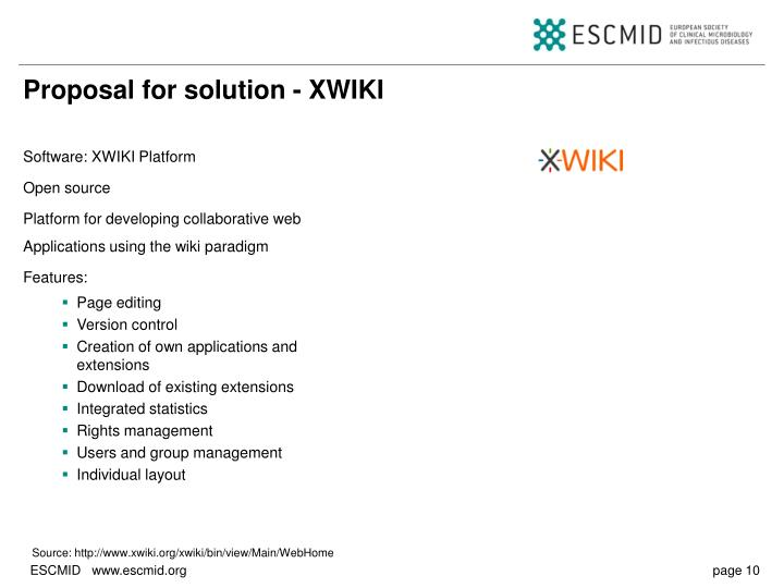 Proposal for solution - XWIKI
