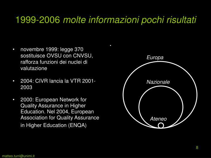 novembre 1999: legge 370 sostituisce OVSU con CNVSU, rafforza funzioni dei nuclei di valutazione