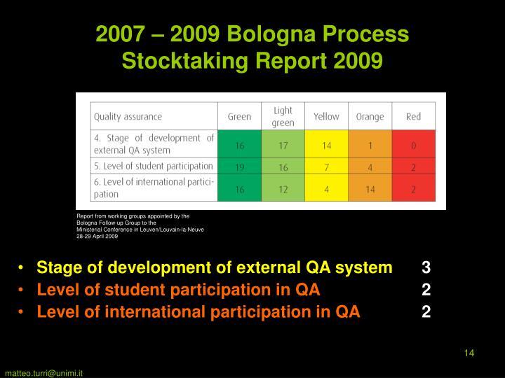 2007 – 2009 Bologna Process