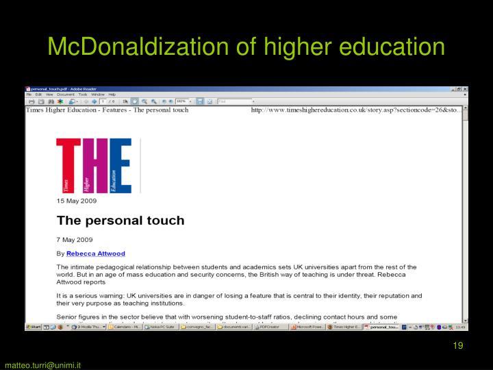 McDonaldization of higher education
