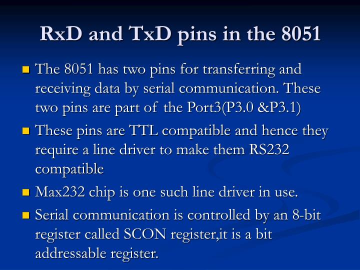 RxD and TxD pins in the 8051