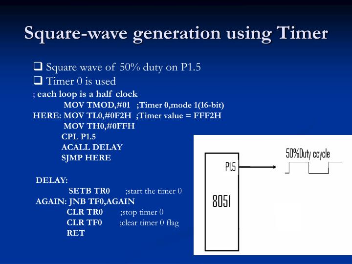 Square-wave generation using Timer