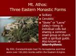 mt athos three eastern monastic forms