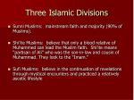three islamic divisions