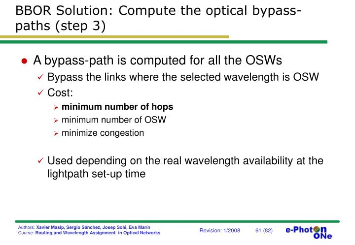 BBOR Solution: Compute the optical bypass-paths (step 3)