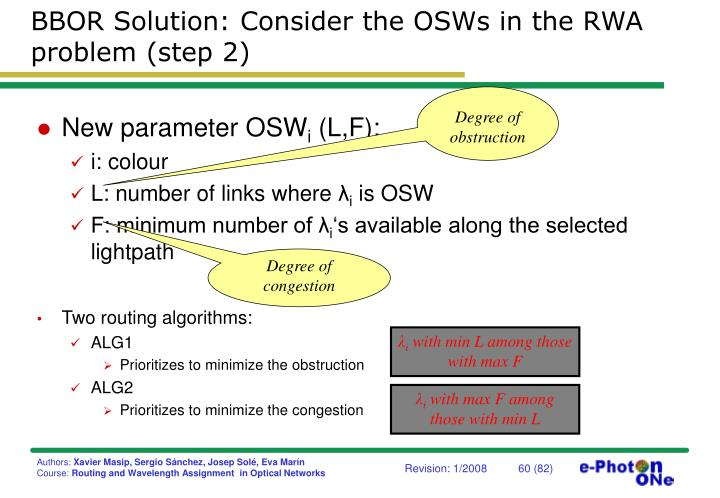 BBOR Solution: Consider the OSWs in the RWA problem