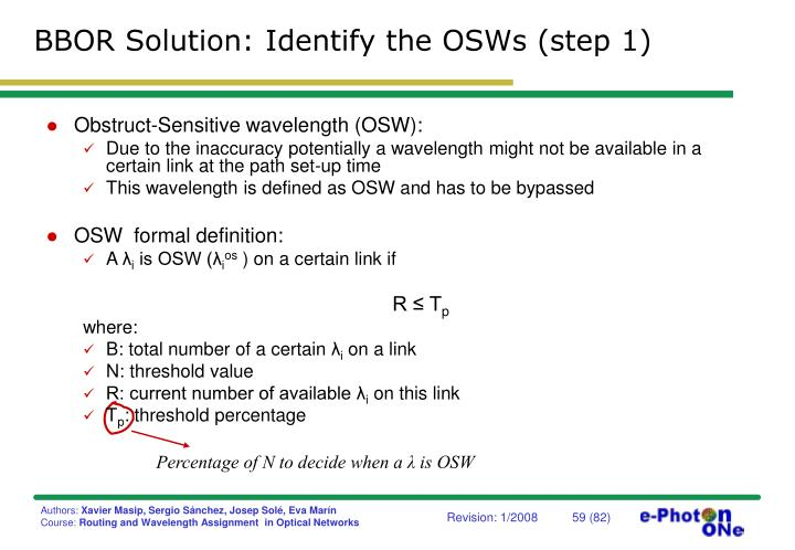 BBOR Solution: Identify the OSWs (step 1)