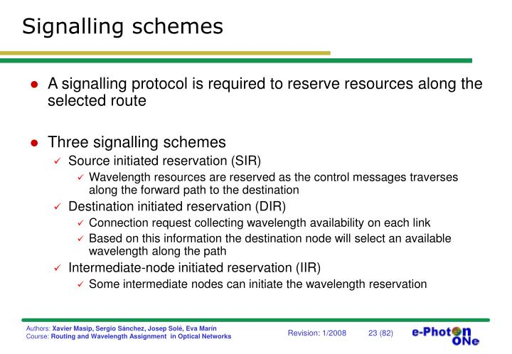 Signalling schemes