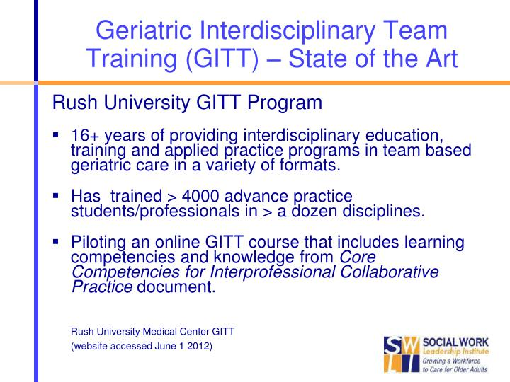 Geriatric Interdisciplinary Team Training (GITT) – State of the Art