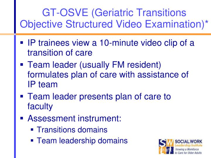 GT-OSVE (Geriatric Transitions Objective Structured Video Examination)*